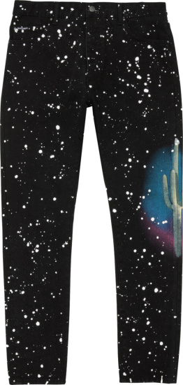 Palm Angels Black Cactus Splatter Jeans