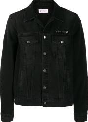 Palm Angels Black Denim Pin Heart Jacket