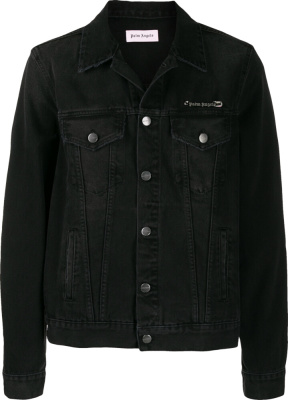 Palm Angels Black Denim Pin Heart Jacket