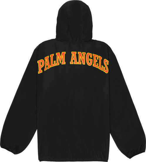 Palm Angels Black Jacket With Red Yellow Logo Print