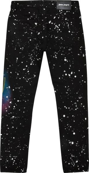 Palm Angels Black Paint Latter Jeans