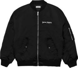 Palm Angels Black Satin Bomber Jacket