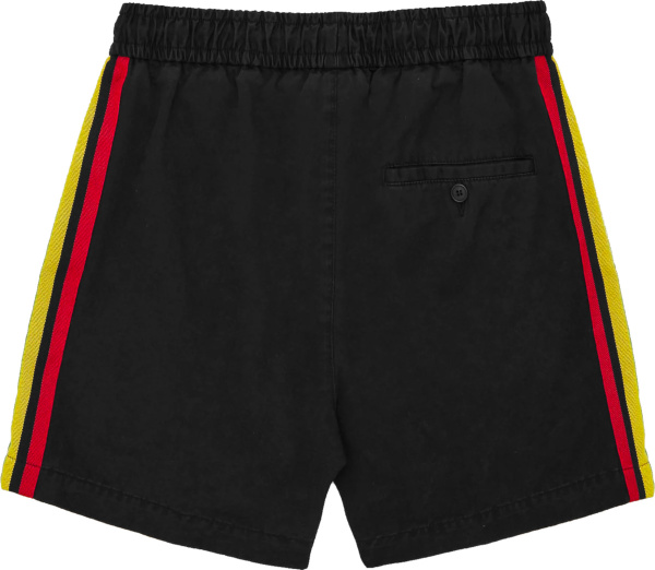 Palm Angels Black Shorts With Side Tape Stripes