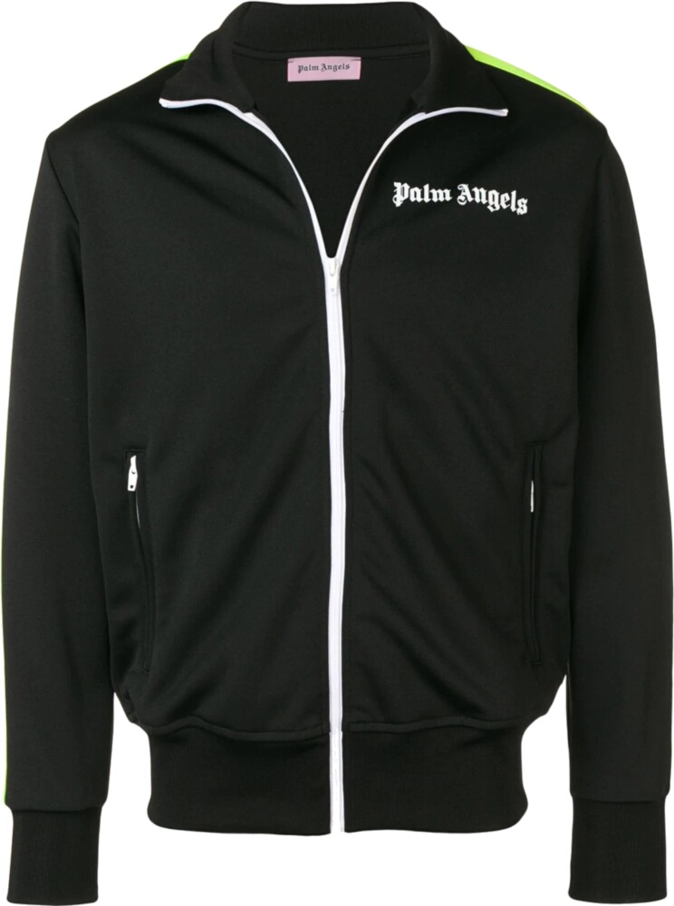 Palm Angels Black Track Jacket With Yellow Side Stripe