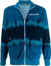 Blue Tie-Dye Velour Track Jacket