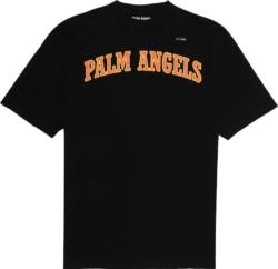 Palm Angels College Logo Prin Black T Shirt