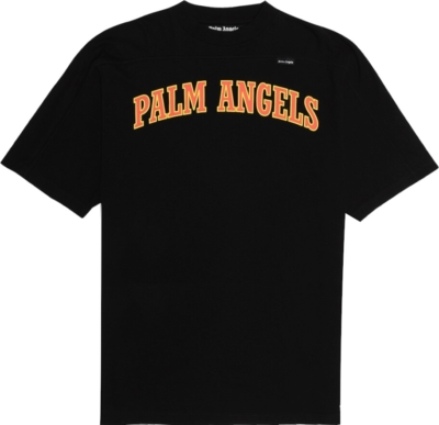 Palm Angels College Logo Prin Black T Shirt