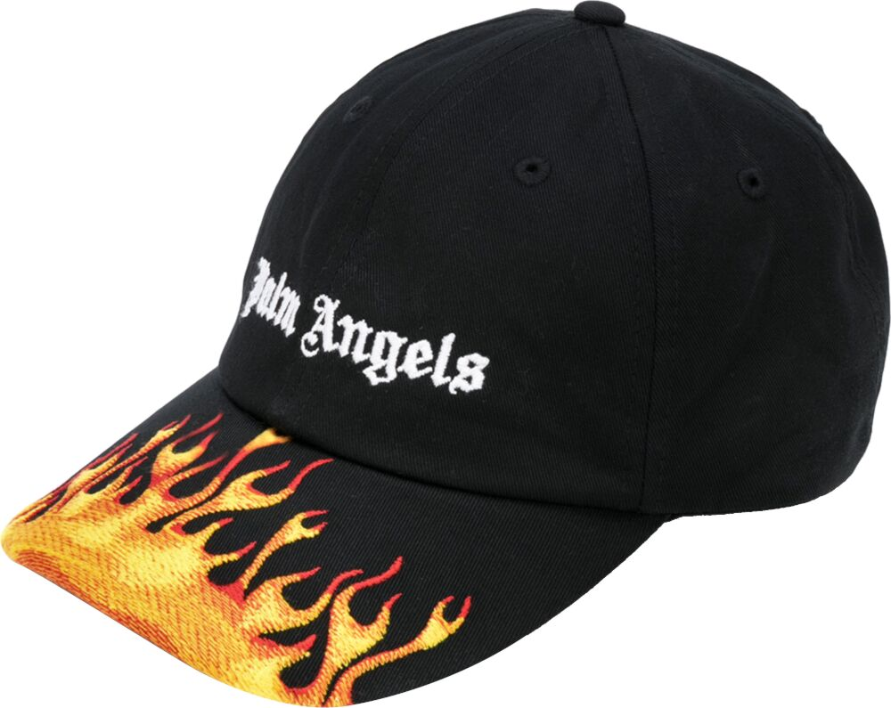 Flame Embroidered Black Hat