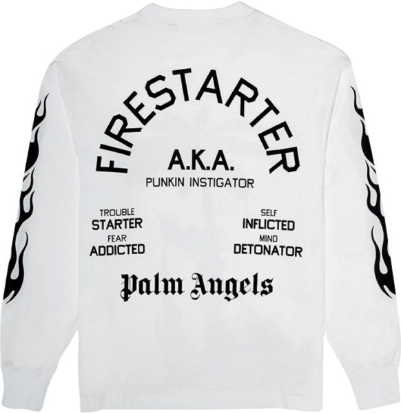 Palm Angels Fire Starter Print White Sweatshirt