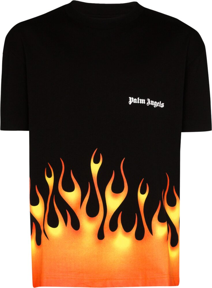 Palm Angels Flame Print Black T Shrit