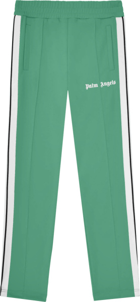 Palm Angels Green And White Stripe Trackpants