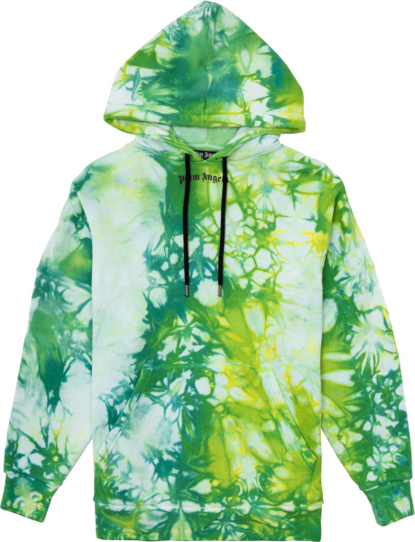 Palm Angels Green And Yellow Tie Dye Hoodie