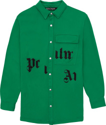 Palm Angels Green Broken Logo Overshirt