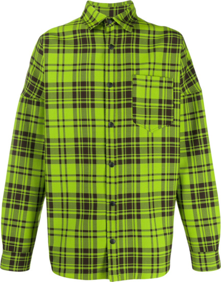 Palm Angels Green Check Oversized Shirt