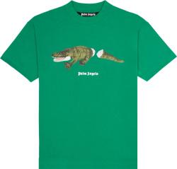 Palm Angels Green Crocodile Print T Shirt