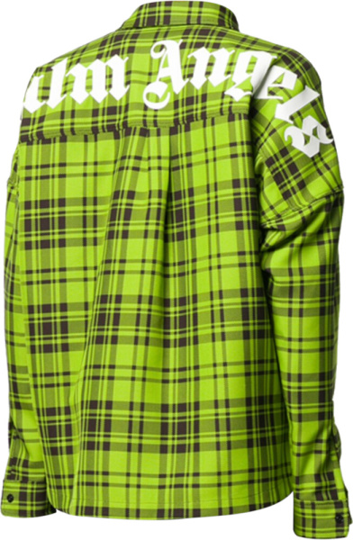 Palm Angels Green Plaid Oversized Shirt
