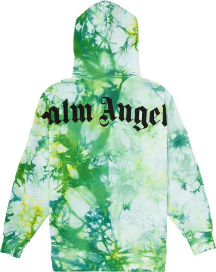 Palm Angels Green Tie Dye Logo Print Hoodie