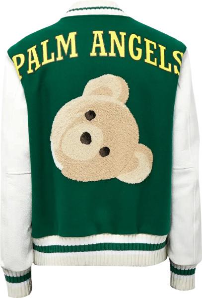Palm Angels Green White Teddy Bear Varsity Jacket