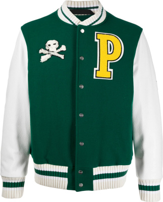 Palm Angels Green White Teddy Varsity Jacket