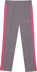 Palm Angels Grey And Neon Pink Stripe Track Pants