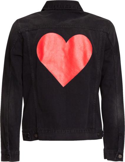 Palm Angels Heart Print Denim Jacket