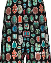 Palm Angels Jewels Print Black Swim Shorts