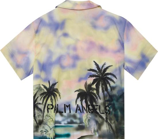 Palm Angels Multicolor Palm Tree Watercolor Print Shirt