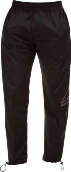 Palm Angels Pink Exotic Print Black Trackpants