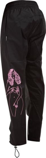 Palm Angels Pink Exotic Woman Print Black Trackpants