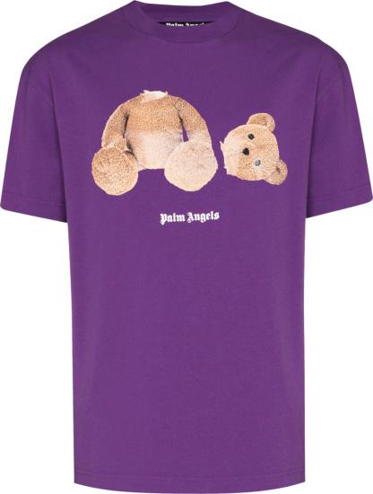 Palm Angels Teddybear Print Purple T Shirt