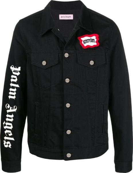 Palm Angels X Ice Cream Black Denim Jacket