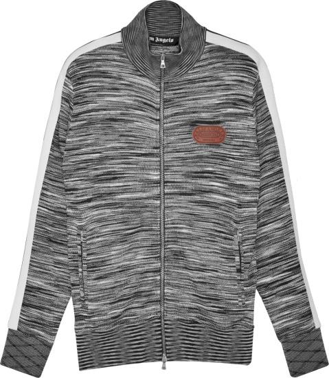 Palm Angels X Missoni Grey And White Stripe Track Jacket