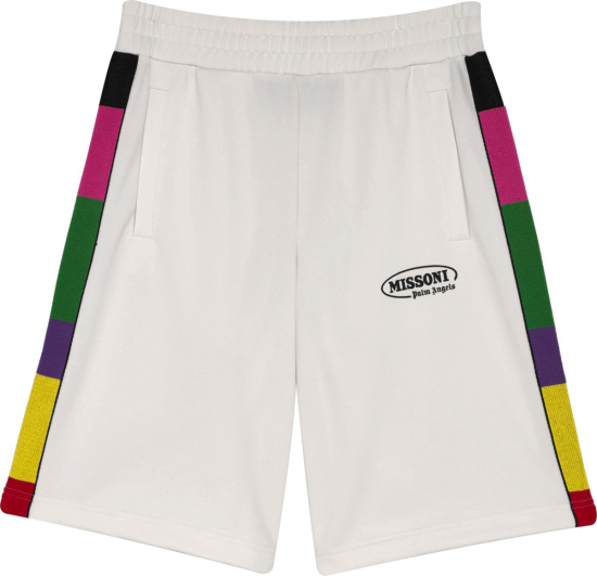 Palm Angels X Missoni White And Multicolor Side Striped Shorts