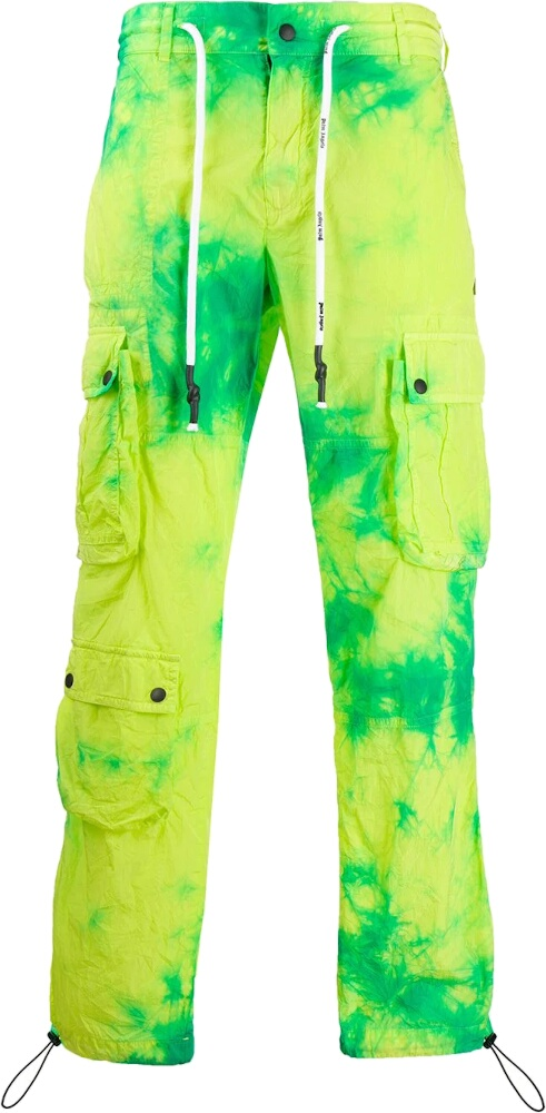 Palm Angels Yellow And Green Tie Dye Cargo Pants
