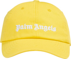 Palm Angels Yellow Logo Embroidered Baseball Cap