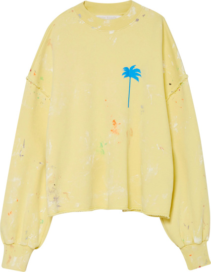 Palm Angels Yellow Palm Tree Print Sweatshirt