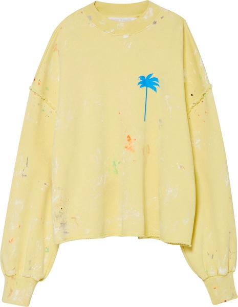 Palm Angels Yellow Palm Tree Print Sweatshirt
