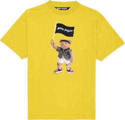 Palm Angels Yellow Pirate Bear Logo T Shirt