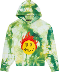 Palm Angle Green And Yellow Tie Dye Burning Smiley Face Hoodie