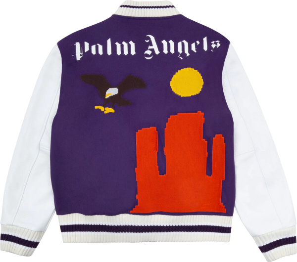 Palm Angles Purple White New Folk Varsity Jacket