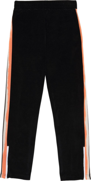 Palm Angles Black Chenille Trackpants With Orange And Pink Stripes