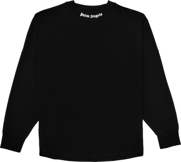 Palm Angles Black Long Sleeve Collar And Back Logo Print T Shirt