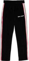 Pink & Orange Stripe Black Chenille Trackpants