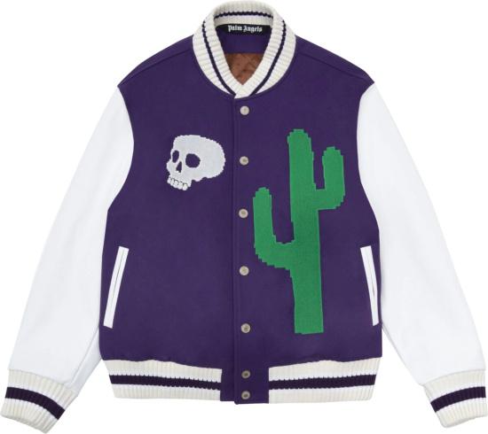 Palm Angles Purple And White Cactus Varsity Jacket