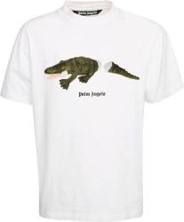 Palm Angles White Crocodile Print T Shirt