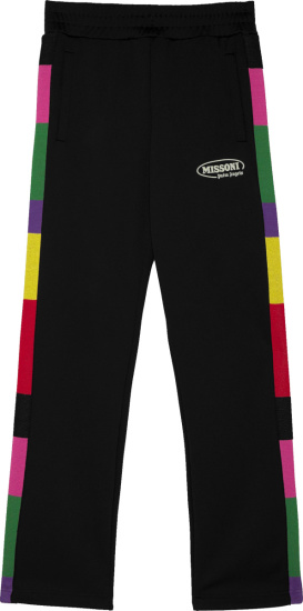 Palm Angles X Missoni Black And Mulitcolor Side Stripe Trackpants