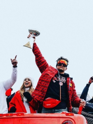 Patrick Mahomes Celebrating Super Bowl Win In Oakley Goggles An Off White Padded Jacket And Supreme Belt Bag
