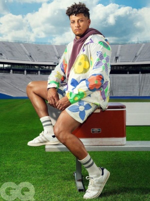 Patrick Mahomes Wearing A Louis Vuitton Monogram Jacket And Shorts With Adidas Sneakers