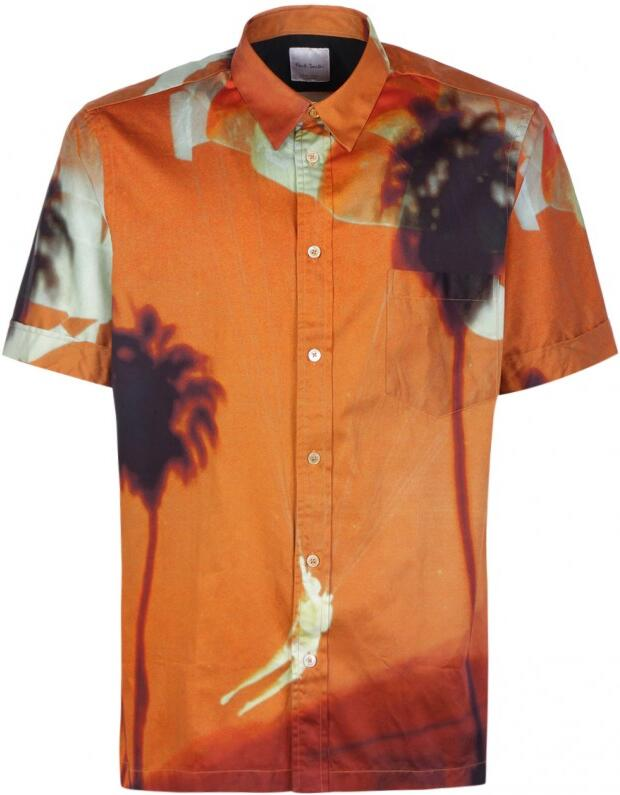 Paul Smith Orange Palm Tree Print Shirt