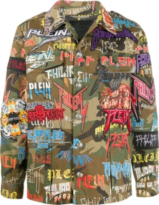 Philipp Plein Allover Logo Print Camo Jacket